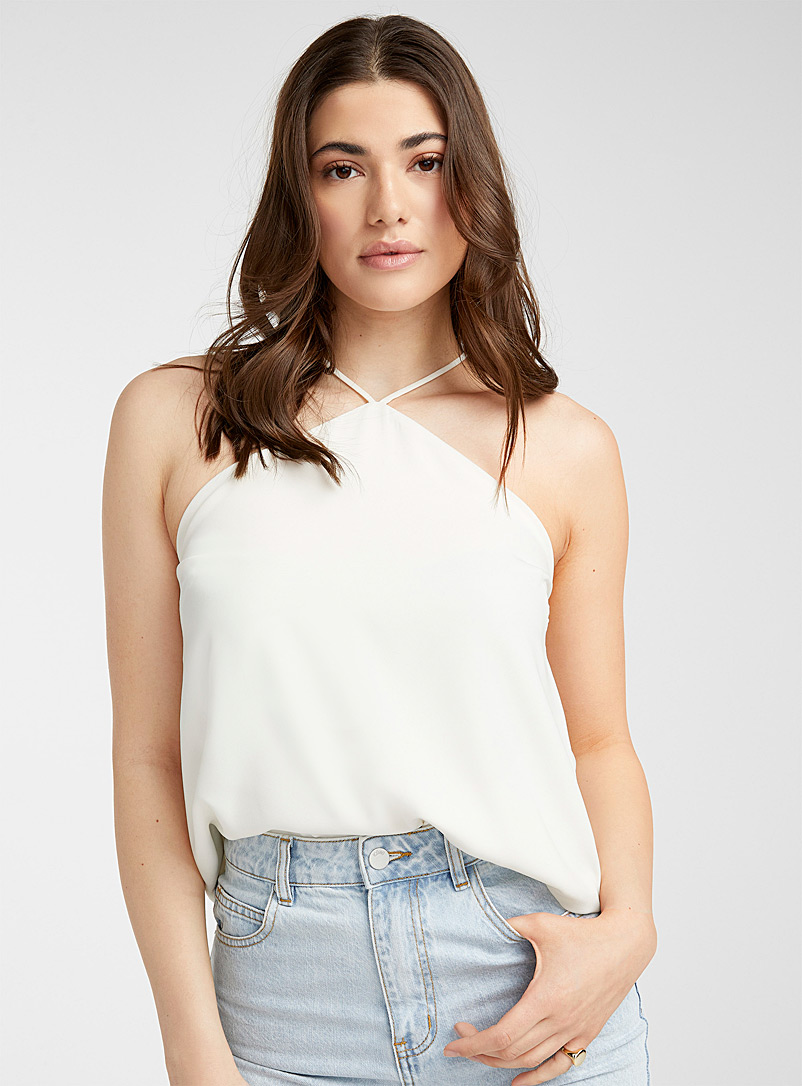 Icône Ivory White Recycled polyester halter cami for women