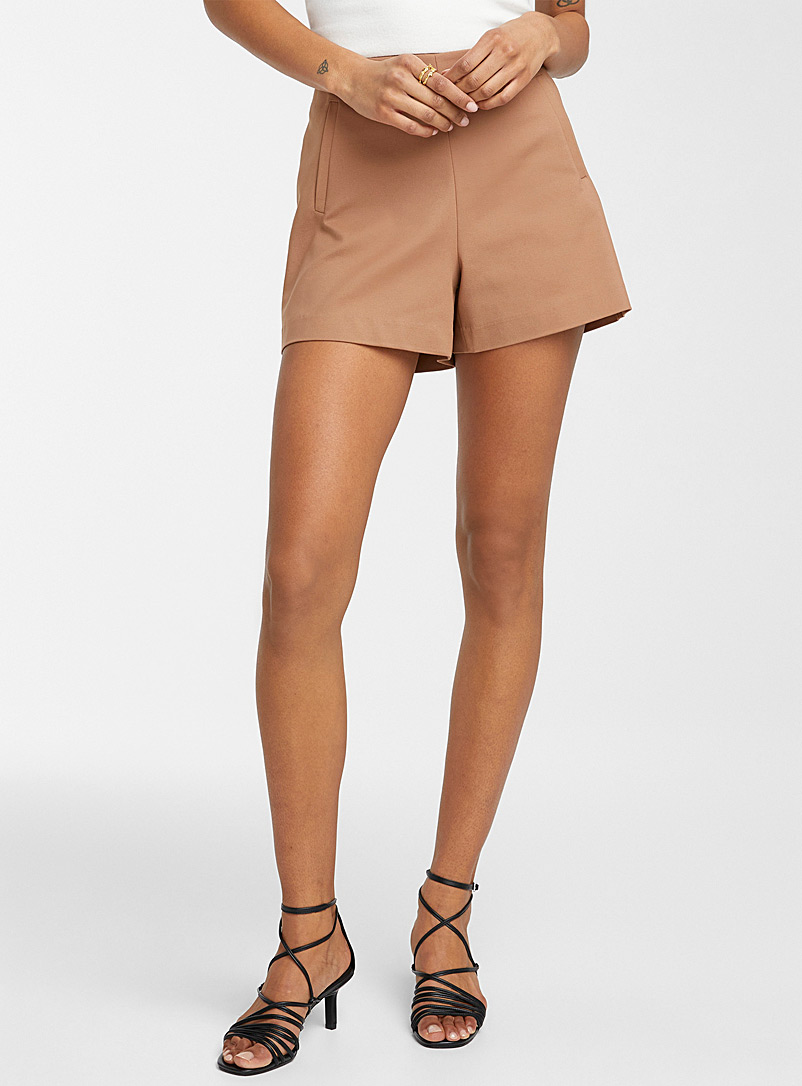 Icône Brown Stretch cotton short for women