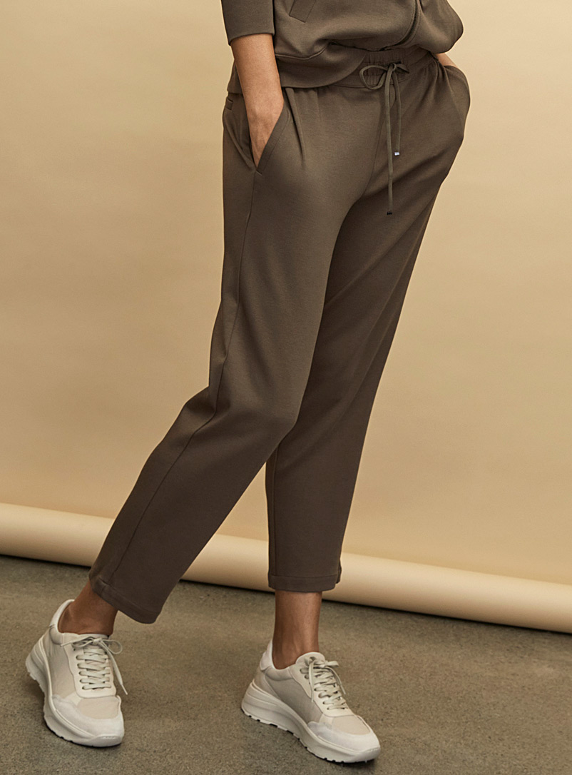 Contemporaine Khaki Chic jersey elastic-waist pant for women