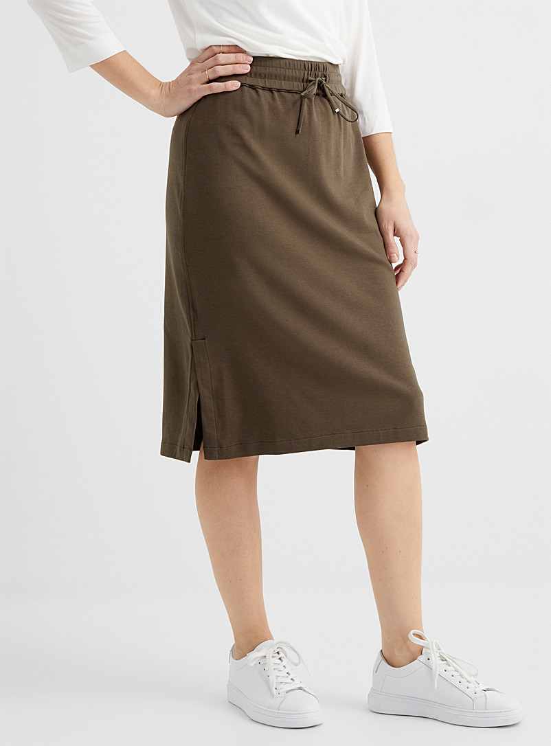 Contemporaine Khaki Chic jersey elastic waist skirt for women