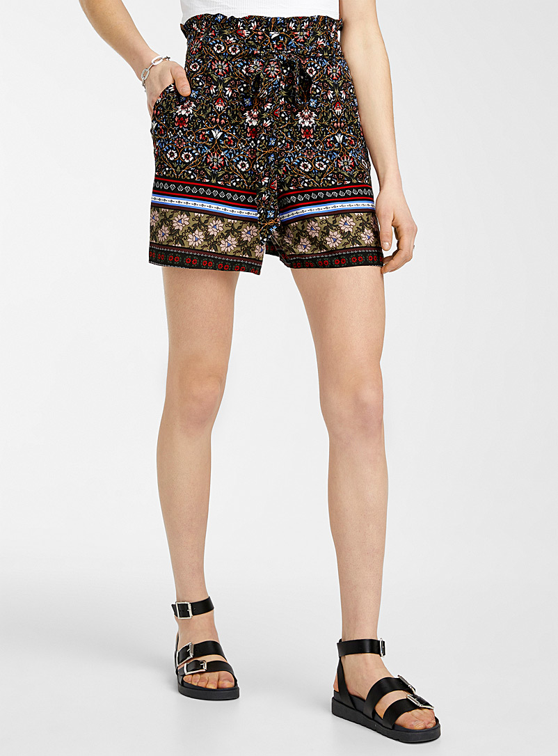 Icône Patterned Red Eco-friendly viscose summer short for women