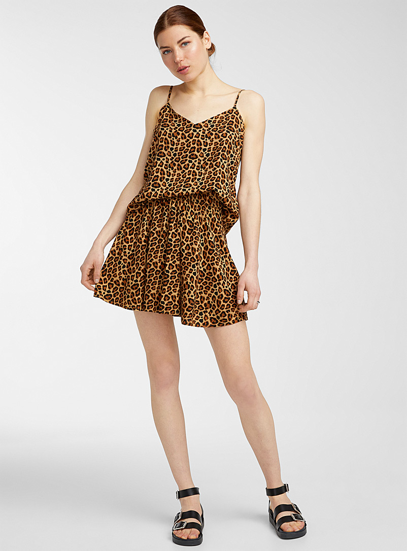 Icône Patterned Brown Patterned eco-friendly viscose miniskirt for women