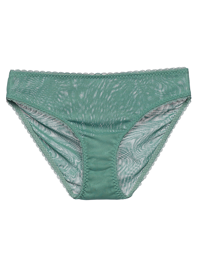 Miiyu Green Lace trim soft nylon bikini panty for women