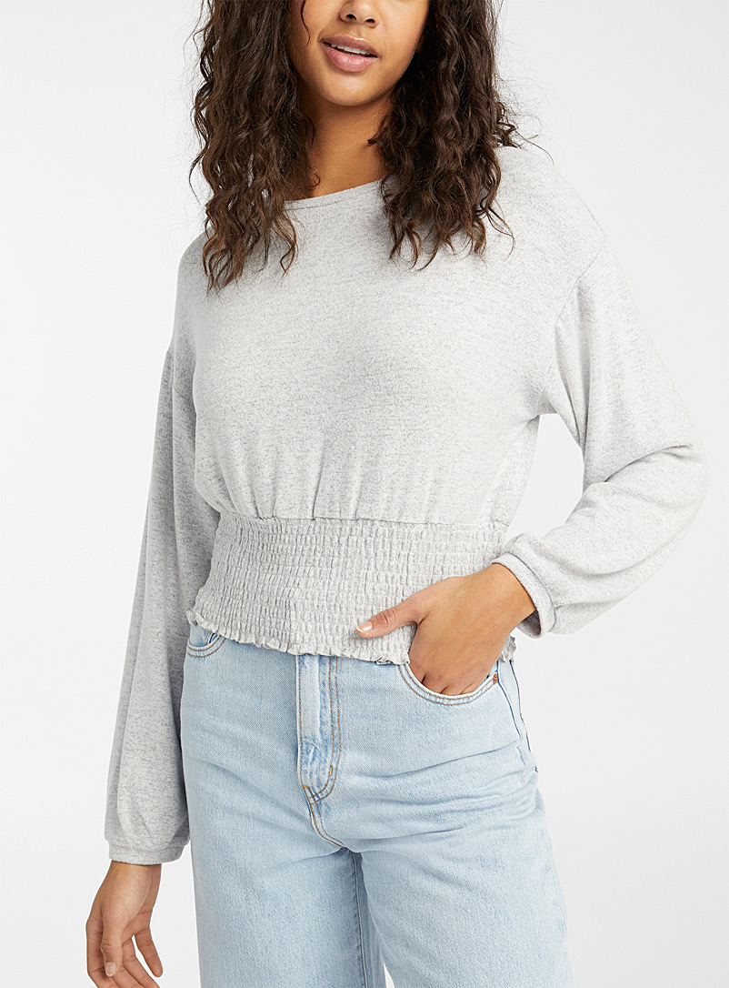 Twik Grey Soft smocked-waist tee for women