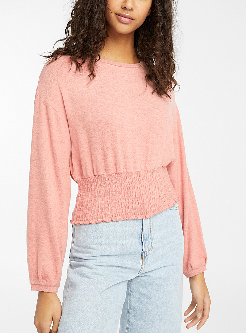 Twik Dusky Pink Soft smocked-waist tee for women