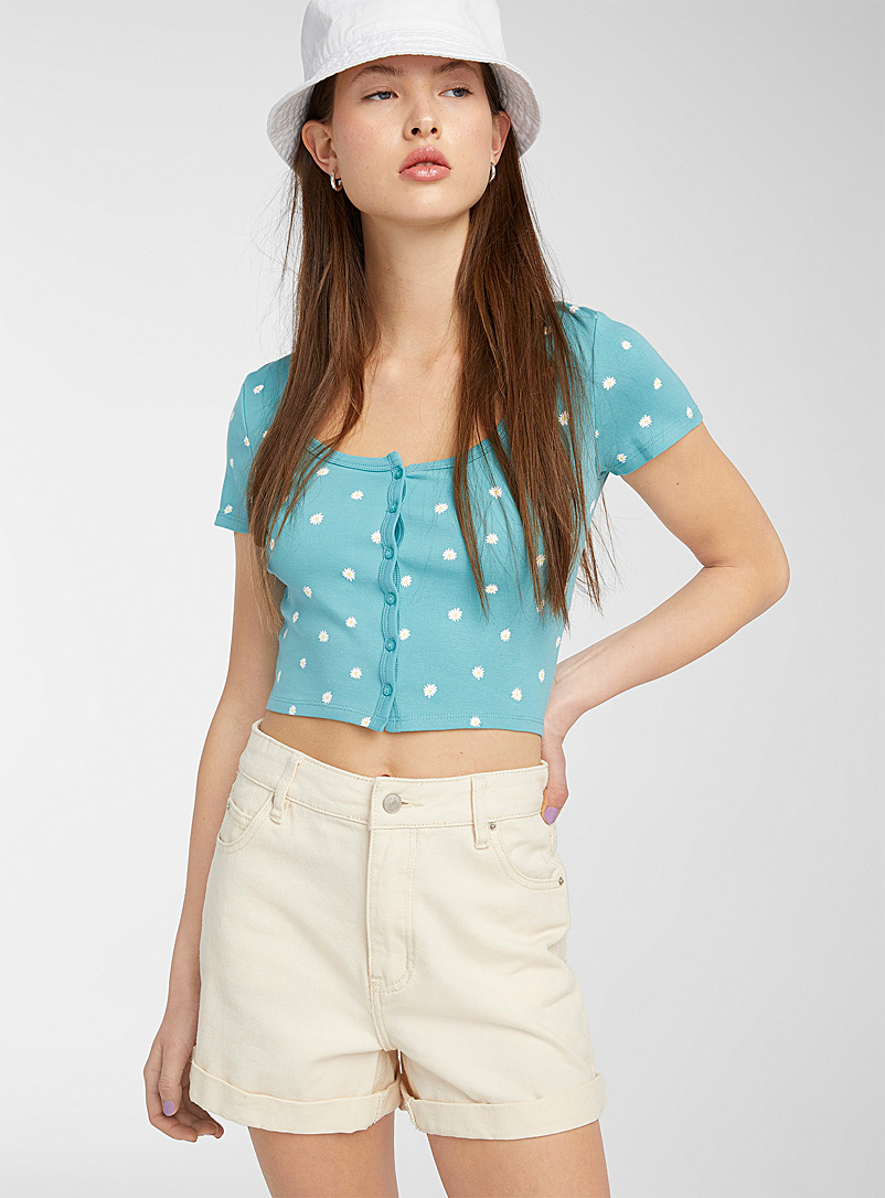 Twik Slate Blue Mini buttons cropped tee for women