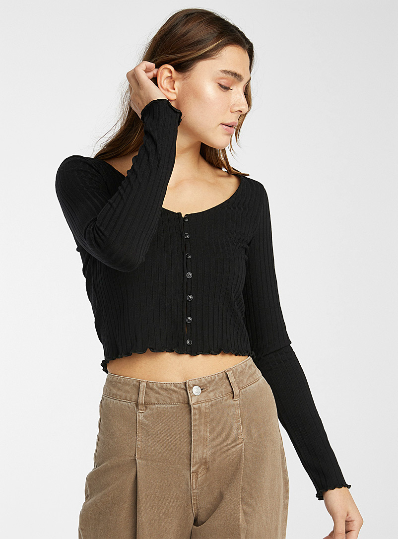 Twik Black Ruffled cropped ribbed cardigan for women