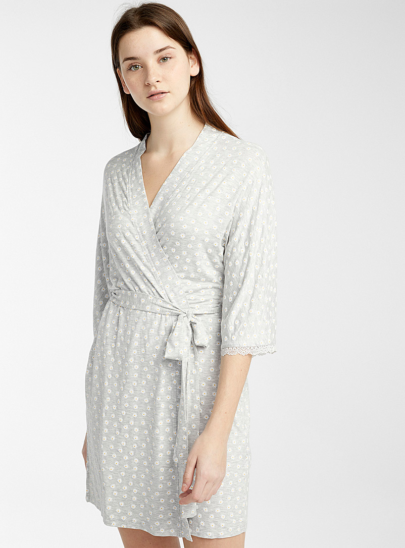 Miiyu x Twik Patterned Grey Lace trim robe for women