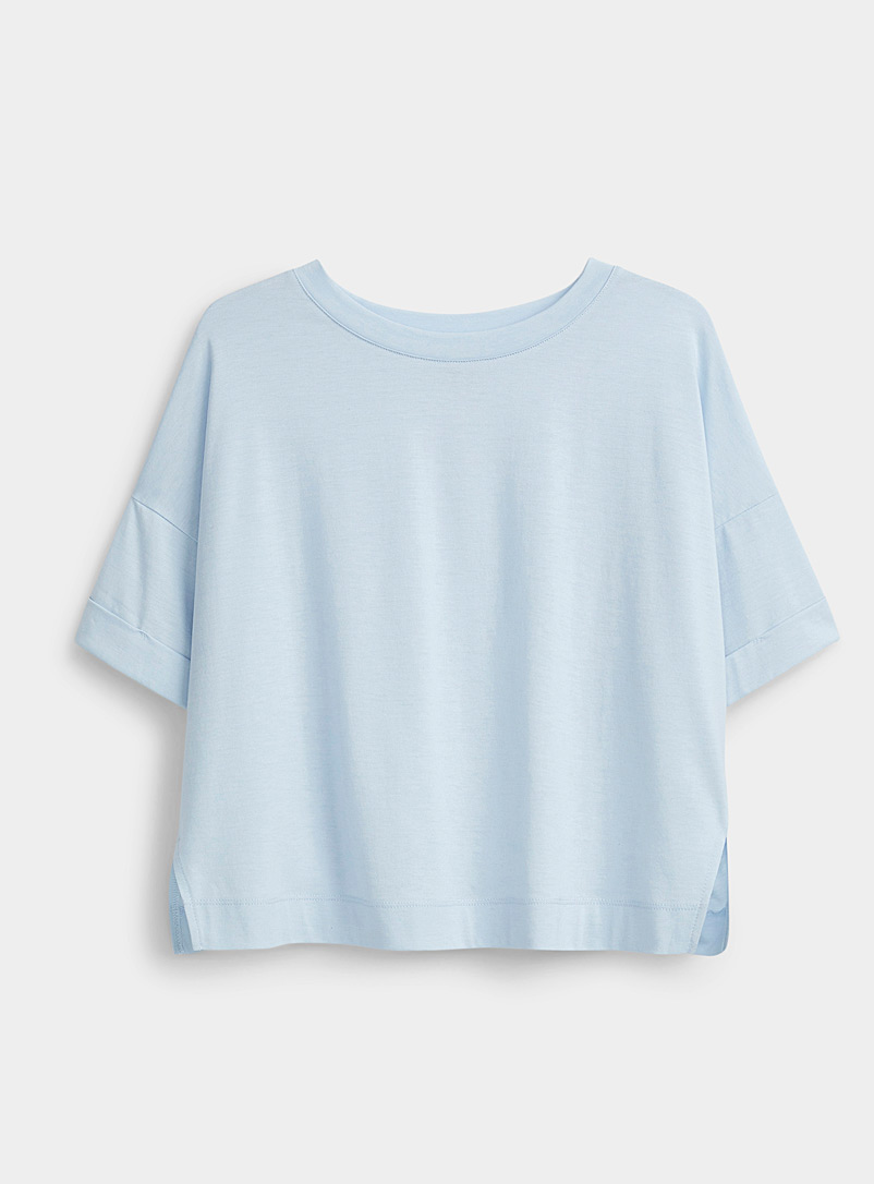 I.FIV5 Baby Blue Boxy cuffed-sleeve t-shirt for women