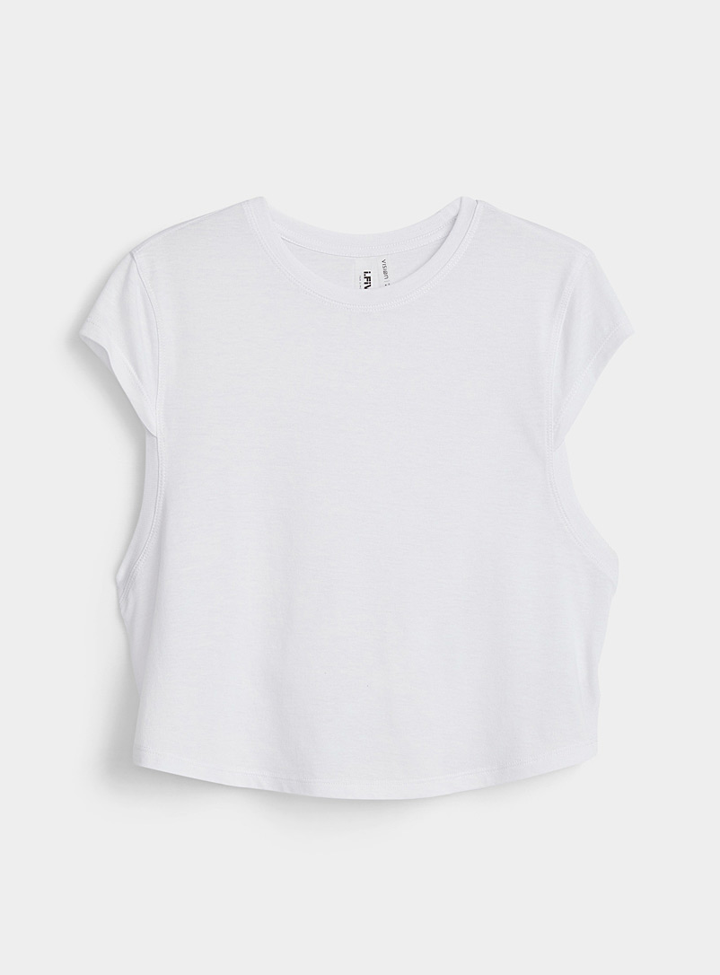 I.FIV5 White Eco-friendly blend cap-sleeve cropped tee for women