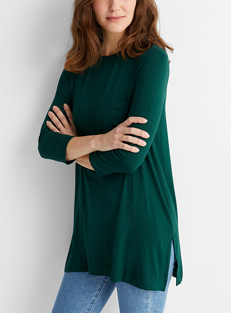 Contemporaine Mossy Green Patch pocket jersey tunic for women