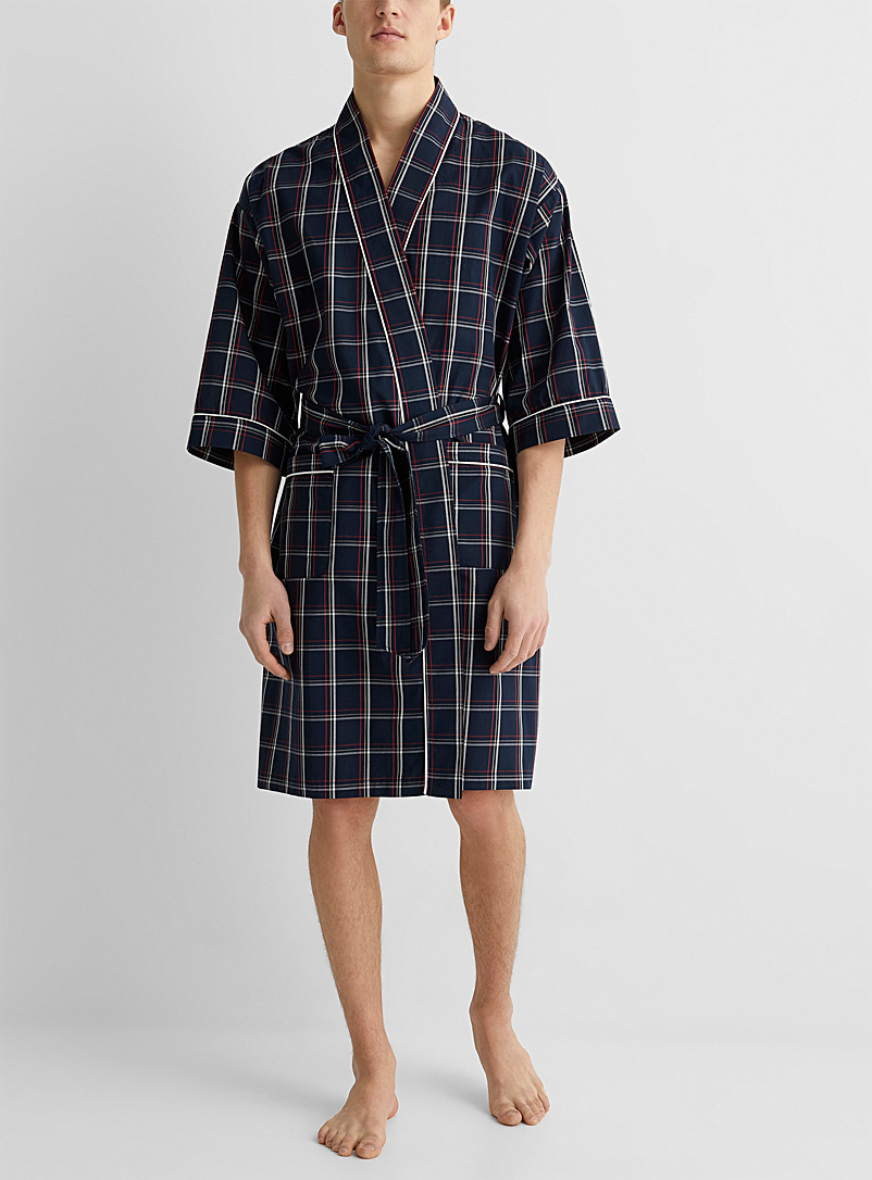 Le 31 Patterned Blue Linear light robe for men