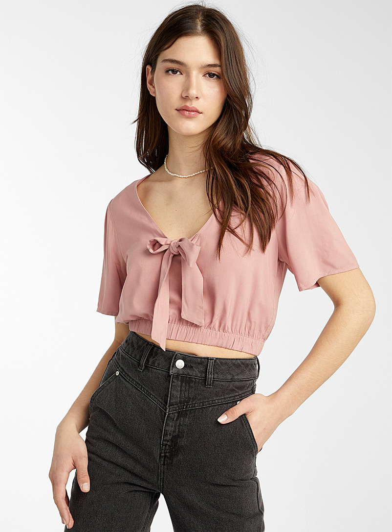 Twik Dusky Pink Accent bow bubble blouse for women