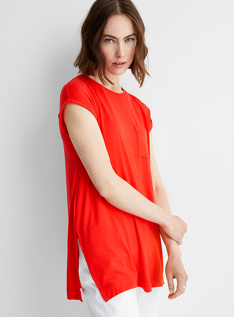 Contemporaine Red Cuffed cap-sleeve jersey tunic for women