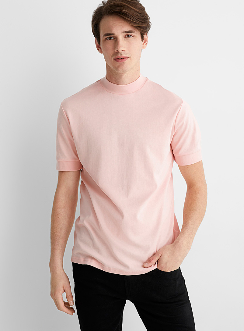 Le 31 Pink Mercerized cotton mock-neck T-shirt for men