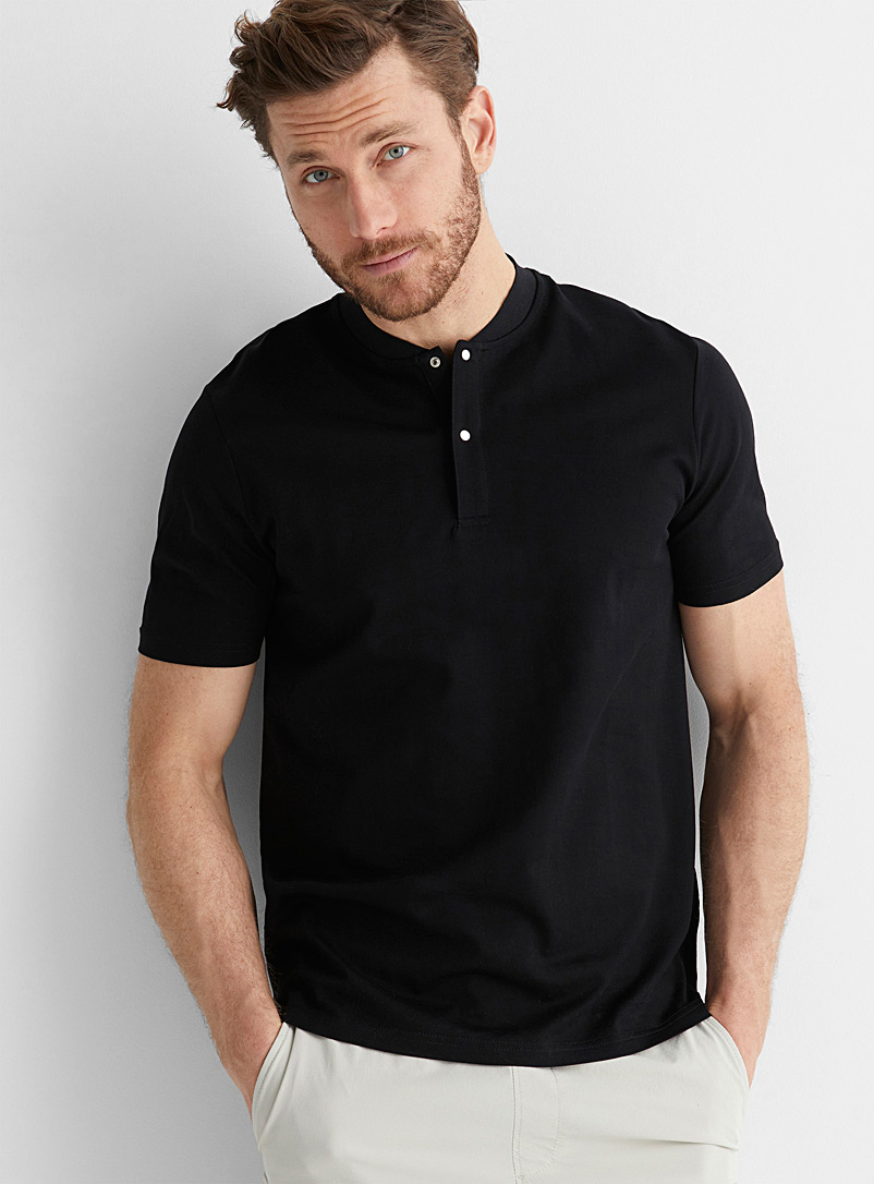 Le 31 Black Athletic-collar Innovation T-shirt for men