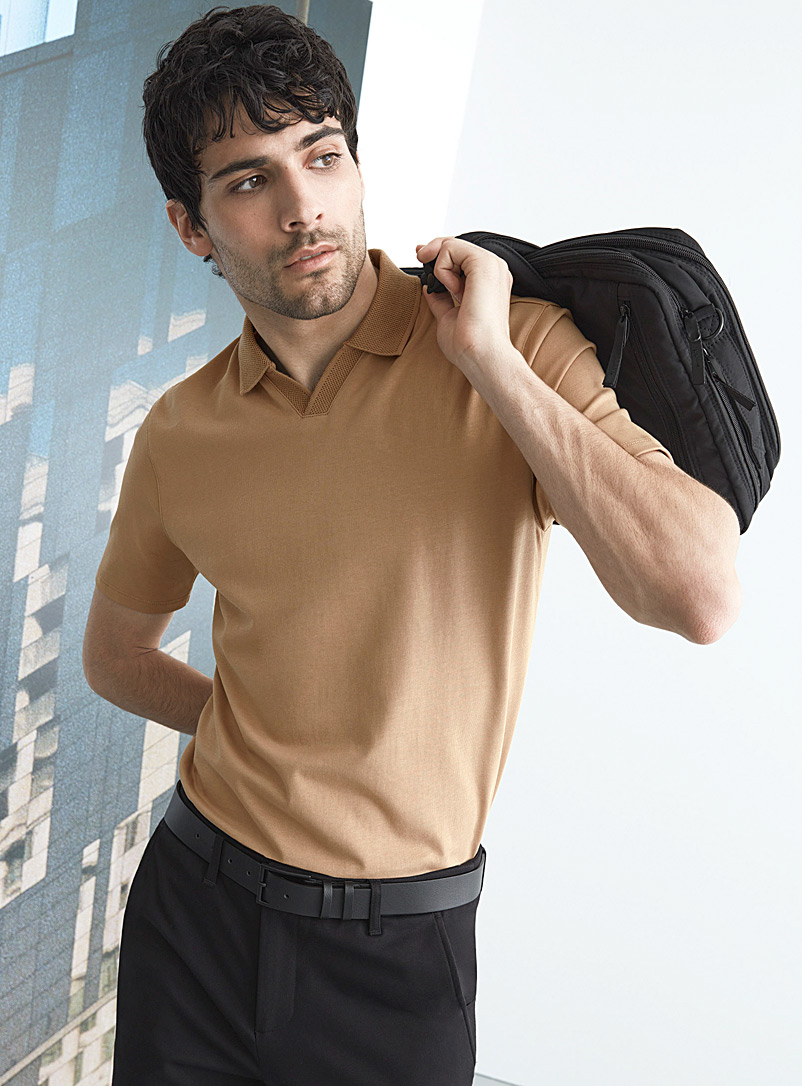 Le 31 Sand Johnny collar Innovation polo for men