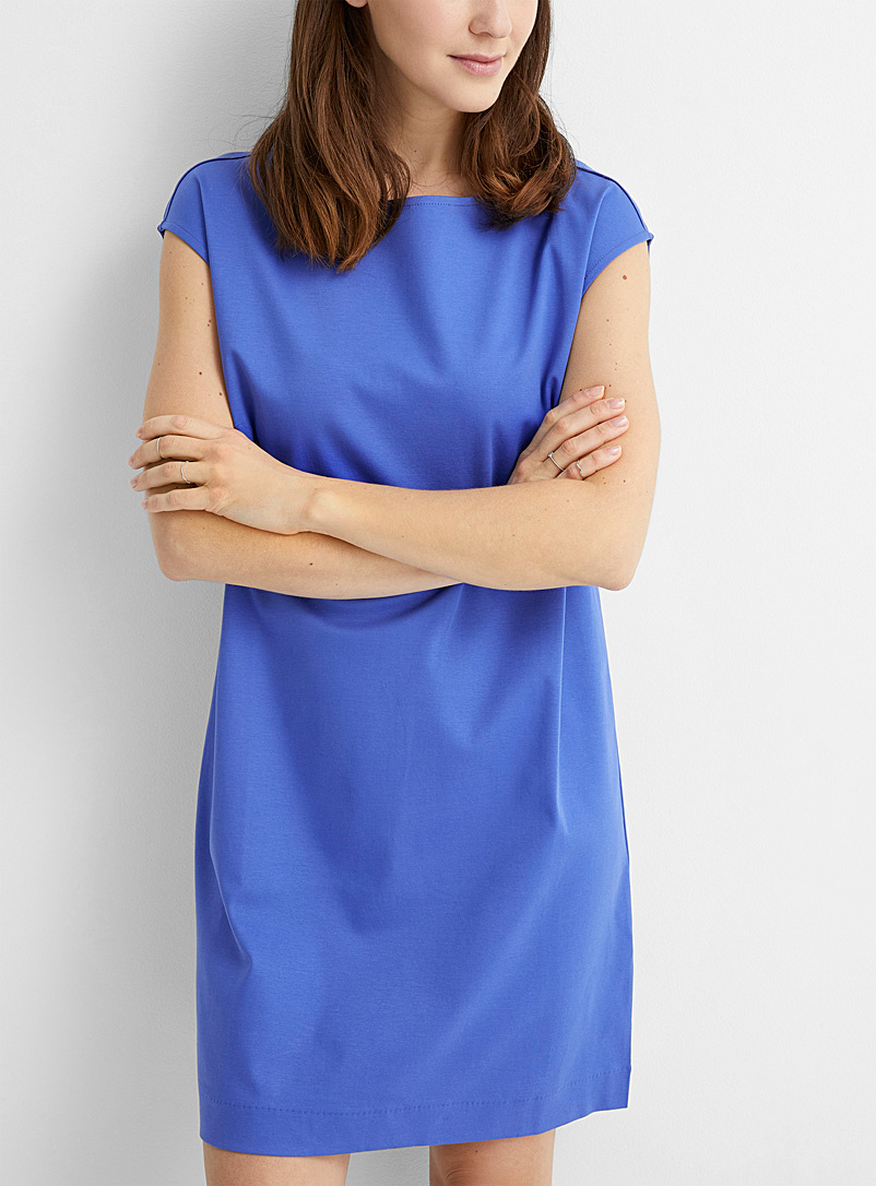 Contemporaine Sapphire Blue Mercerized organic cotton shift dress for women