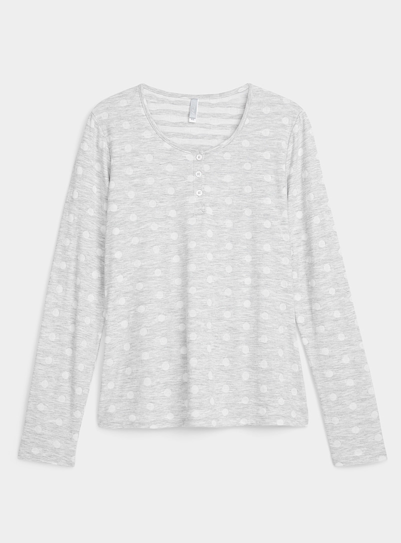 Miiyu Patterned Grey Recycled polyester white dot tee for women