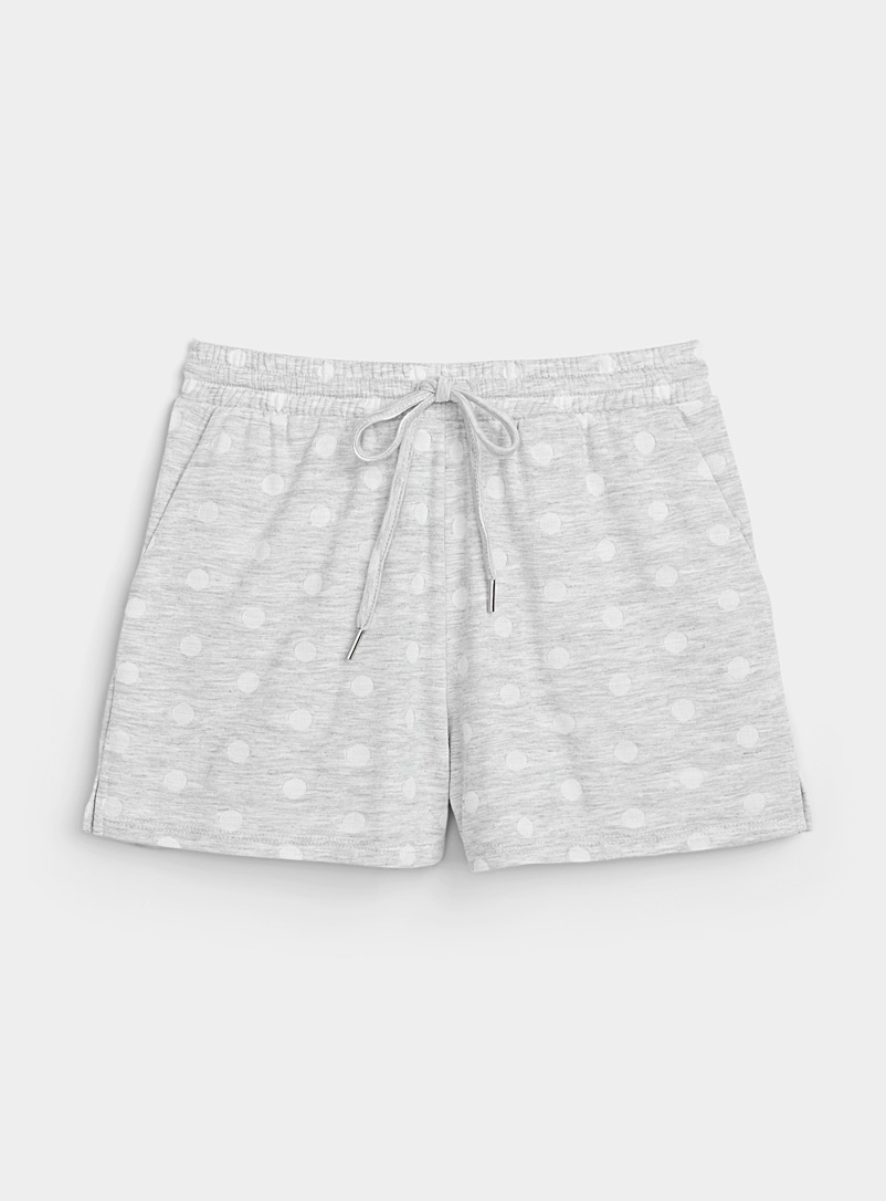 Miiyu Patterned Grey Recycled polyester white dot boxer brief for women