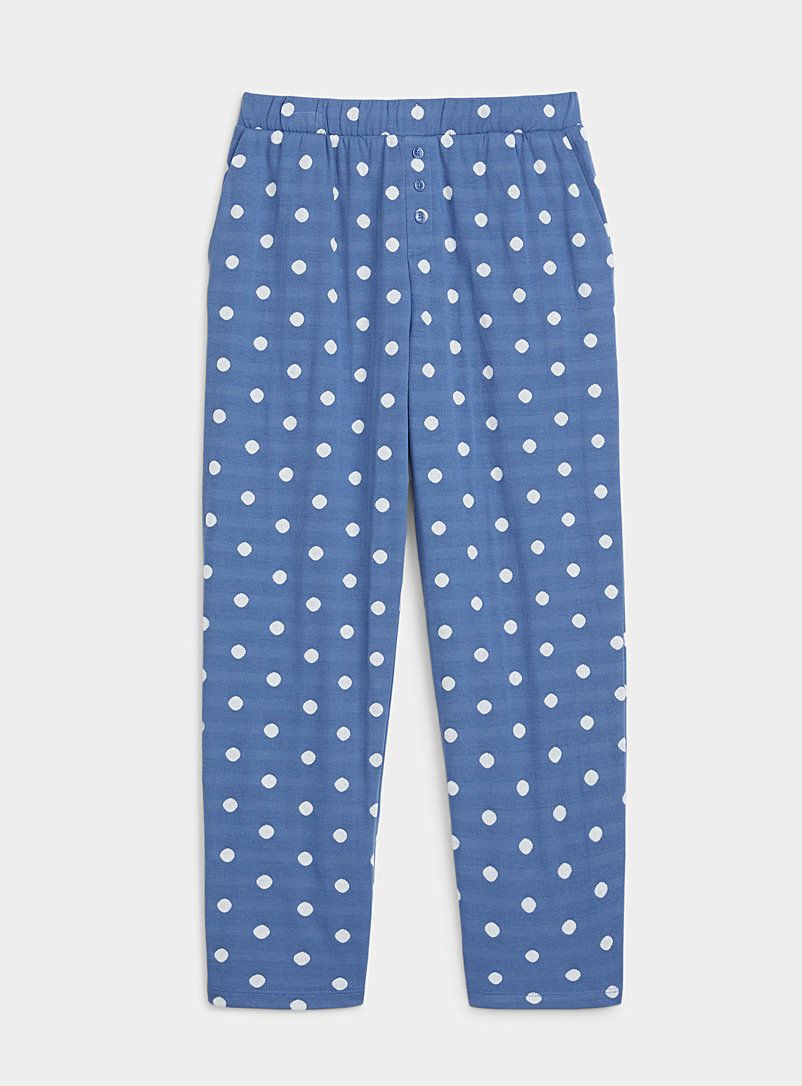Miiyu Patterned Blue Recycled polyester white dot pant for women