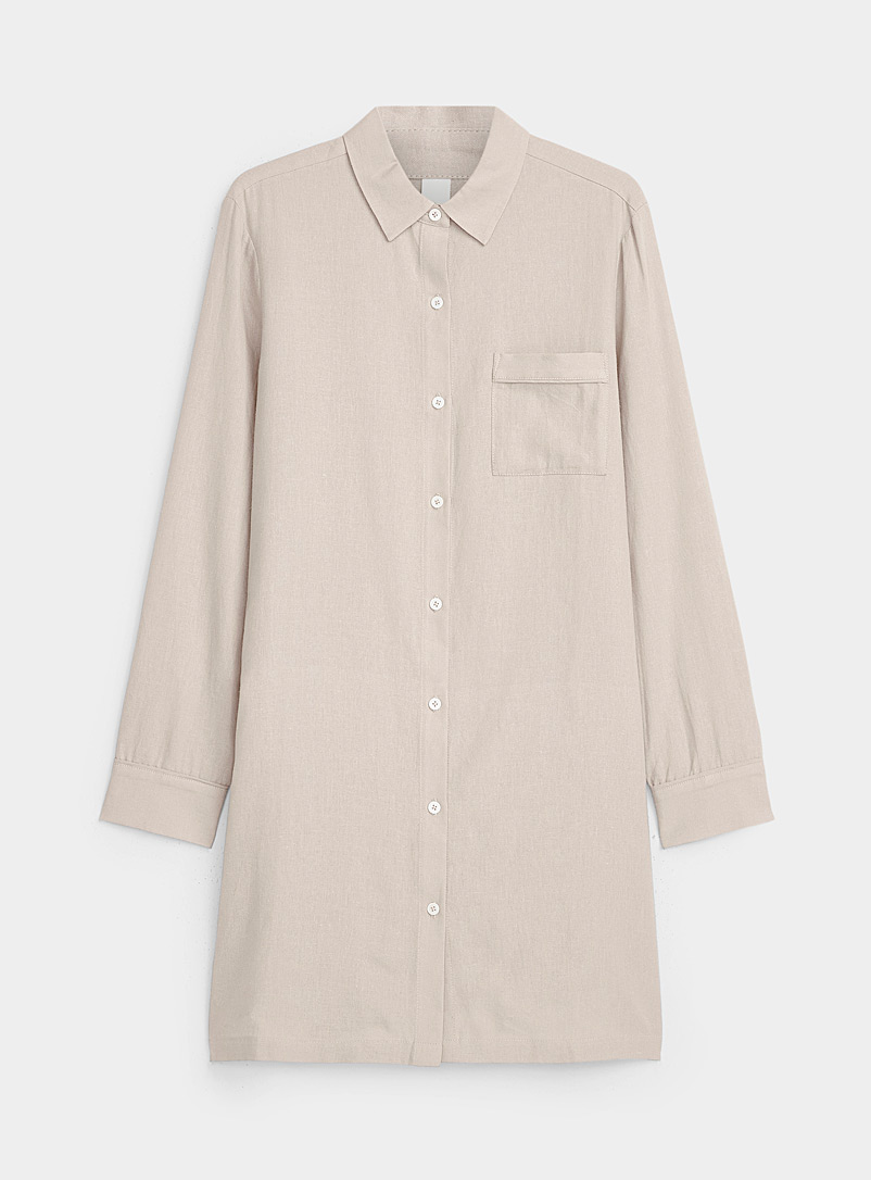 Miiyu Light Brown Natural charm linen-touch nightshirt for women