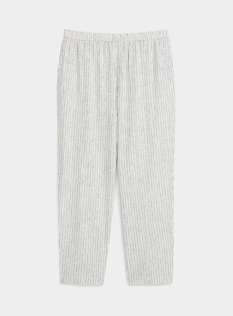 Miiyu Patterned Ecru Natural charm linen-touch pant for women