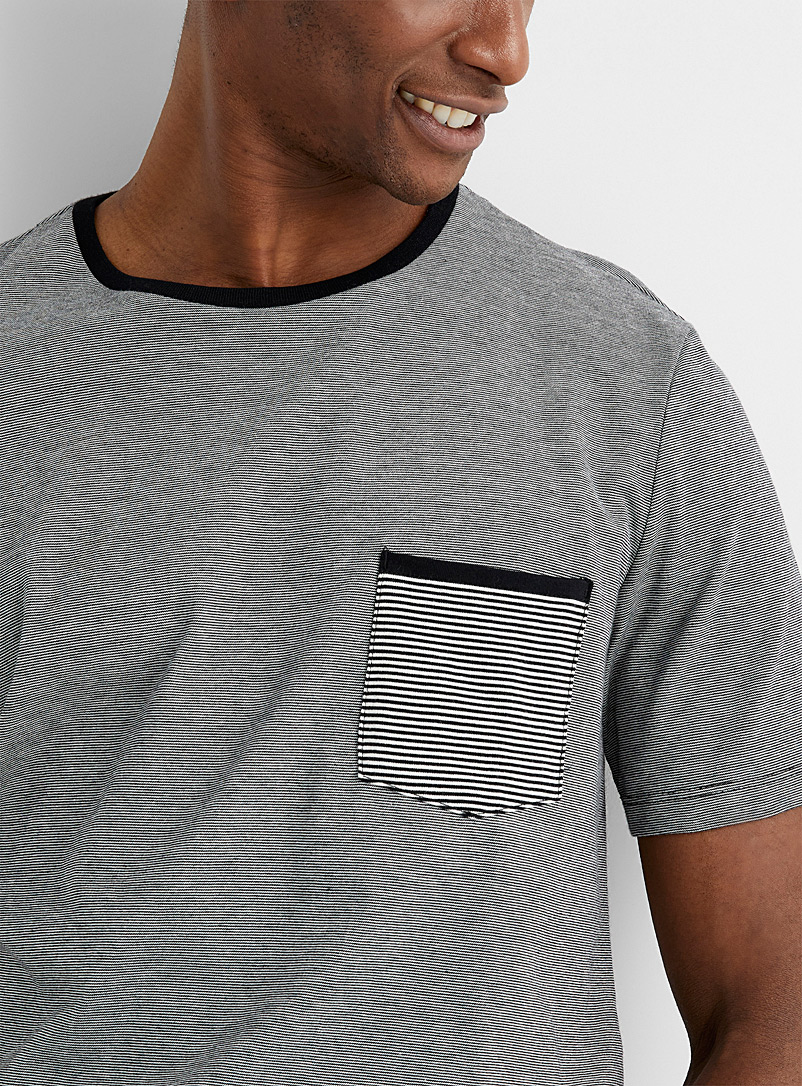 Le 31 Black Optical stripe T-shirt for men