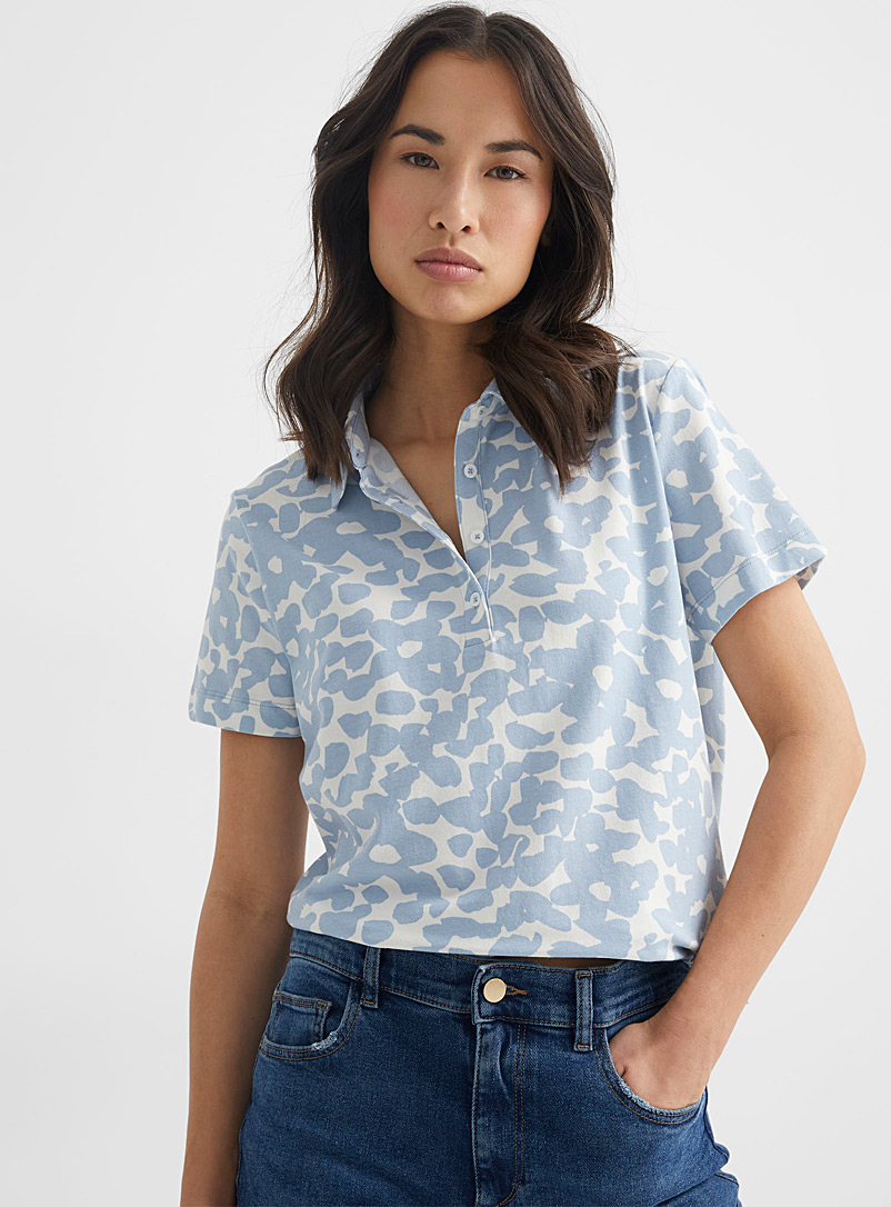 Contemporaine Patterned Blue Floral jersey polo for women