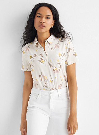 Floral jersey polo