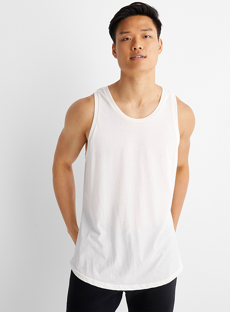 Le 31 Cream Beige Monochrome tank top for men