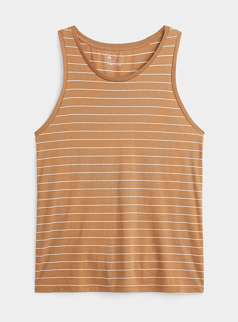 Le 31 Fawn Striped eco-friendly jersey tank for men