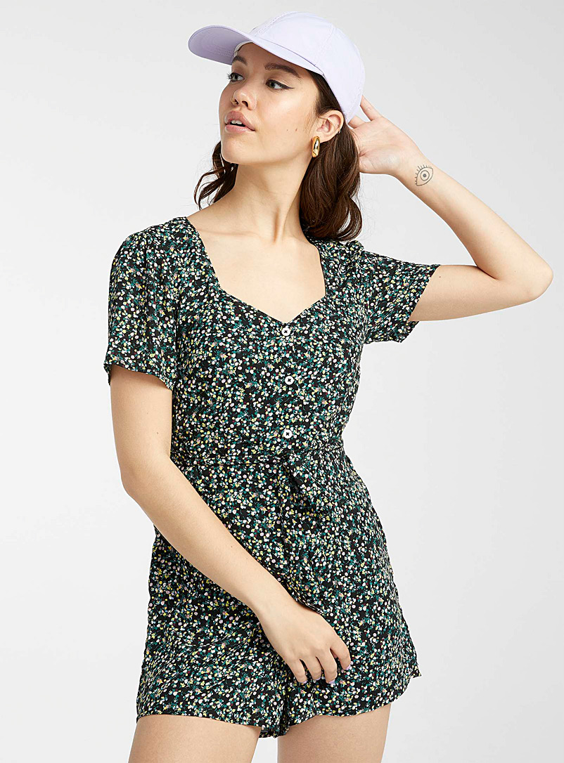 Twik Patterned Black Recycled polyester print romper for women