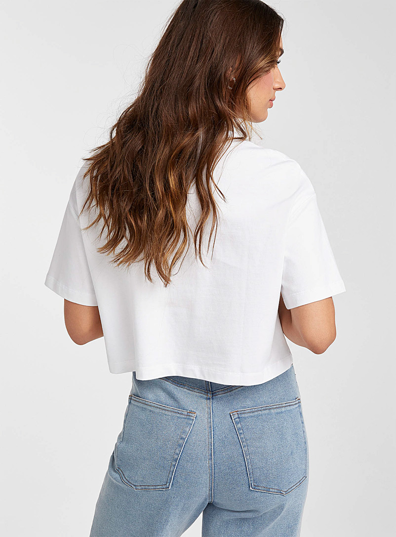 Icône Black Organic and recycled cotton cropped tee for women