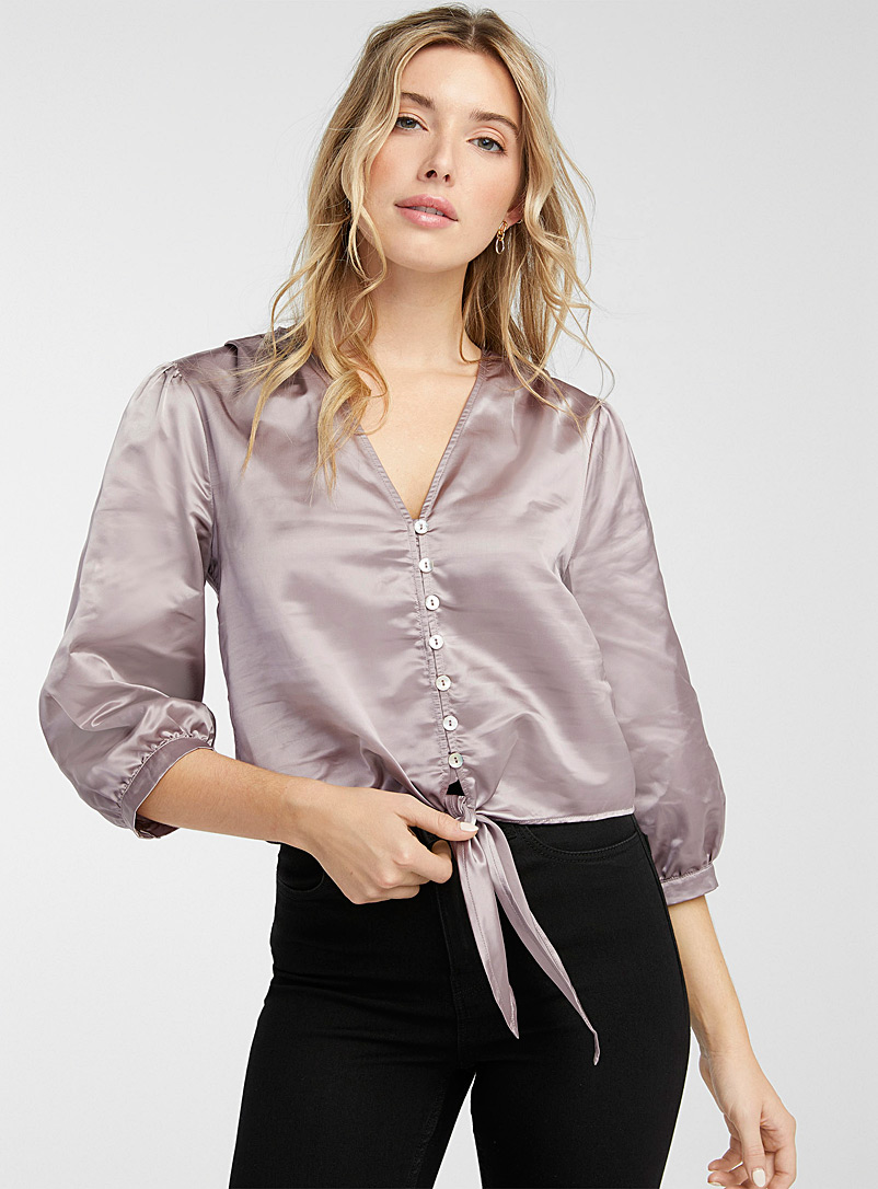 Icône Silver Satiny cropped blouse for women