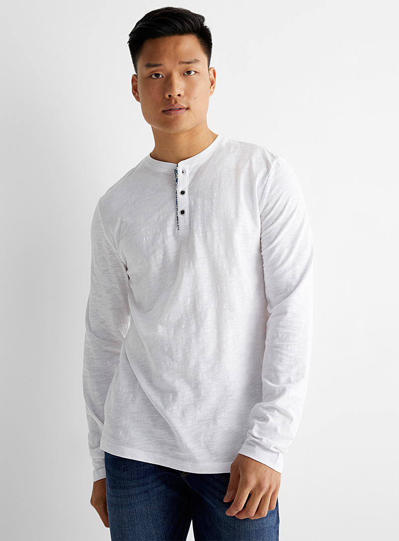 Le 31 Ivory White Liberty accent button-collar T-shirt for men