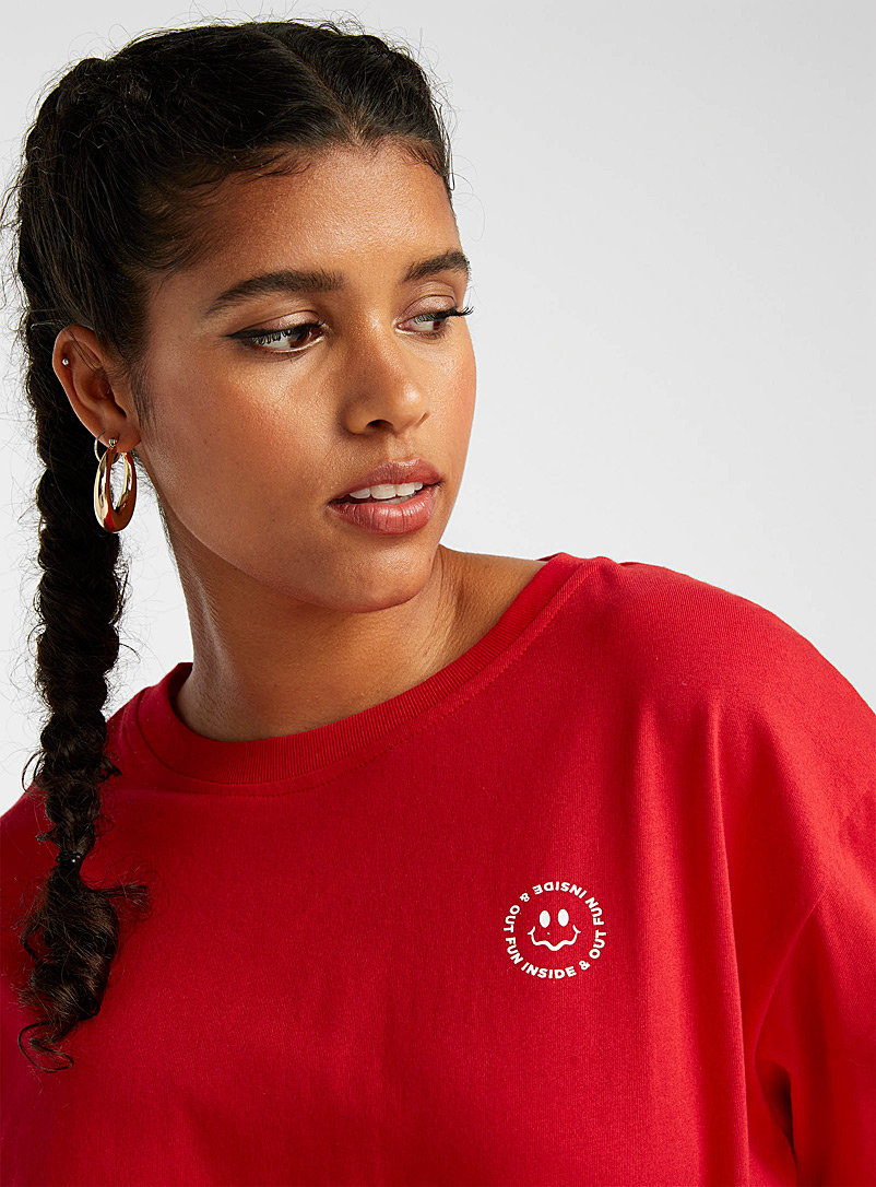 Twik Red Floral smiley face tee for women