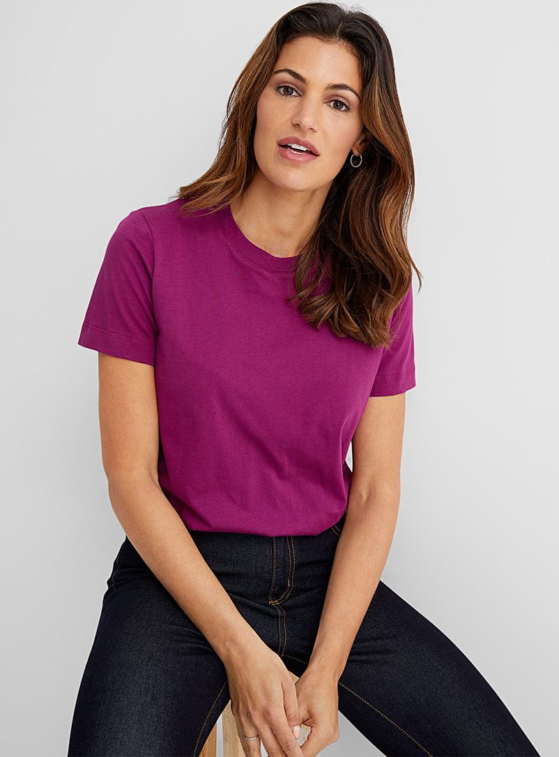 Contemporaine Ruby Red Organic cotton crew-neck tee for women