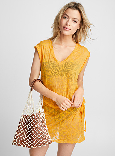 Burnout pattern beach tunic
