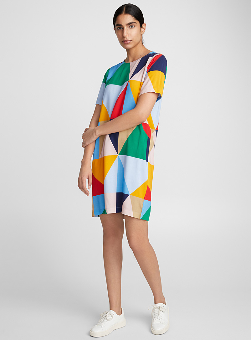 Fluid patterned loose dress - Straight - Assorted