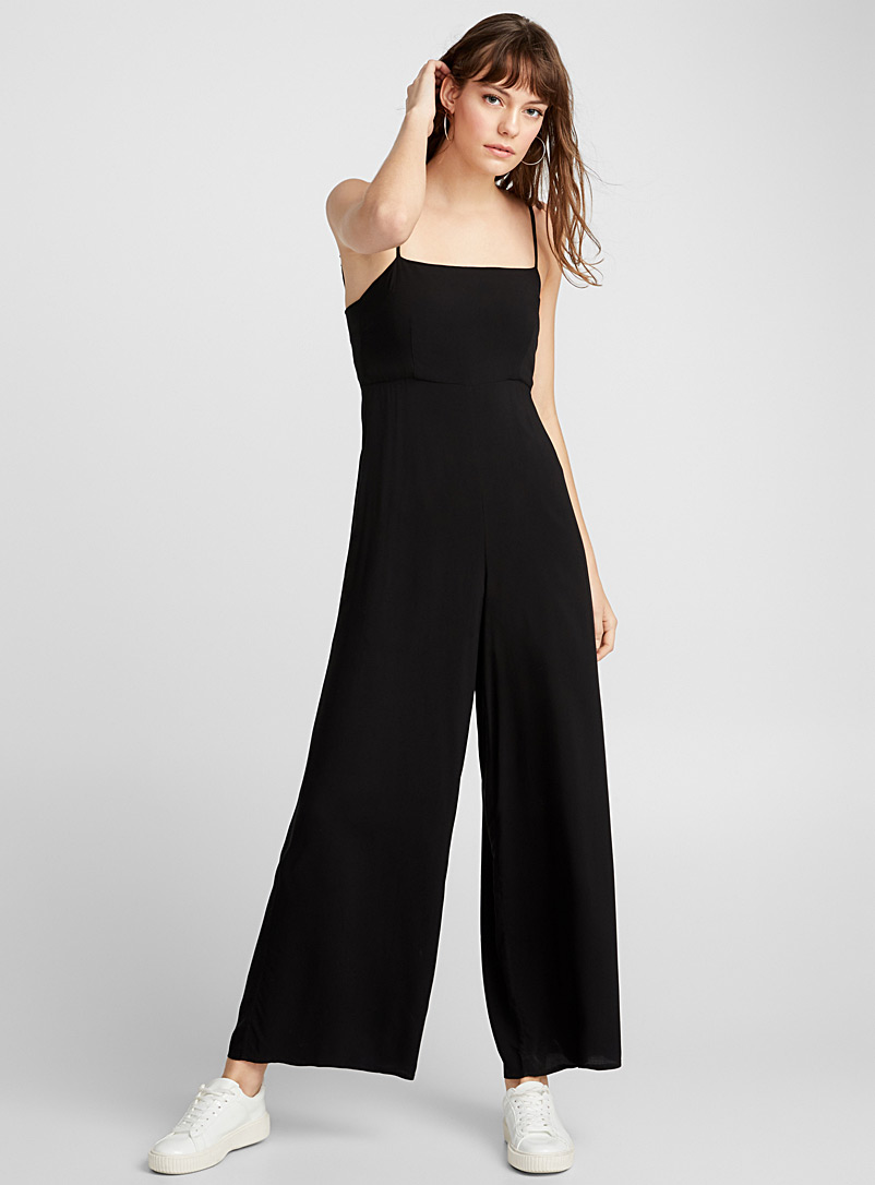 Thin-strap fluid jumpsuit - Jumpsuits & Rompers - Black
