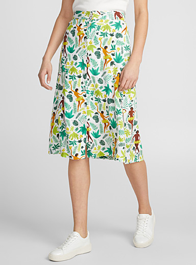 Festive jungle buttoned skirt