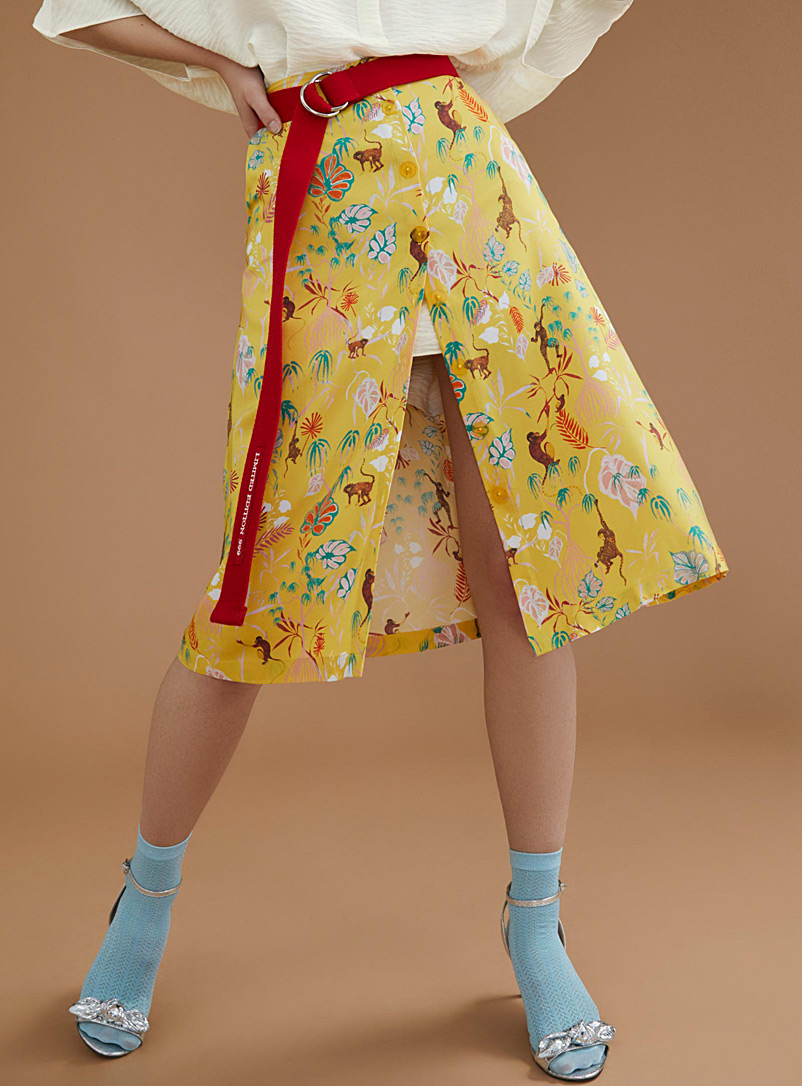 Festive jungle buttoned skirt - Midi - Patterned Yellow