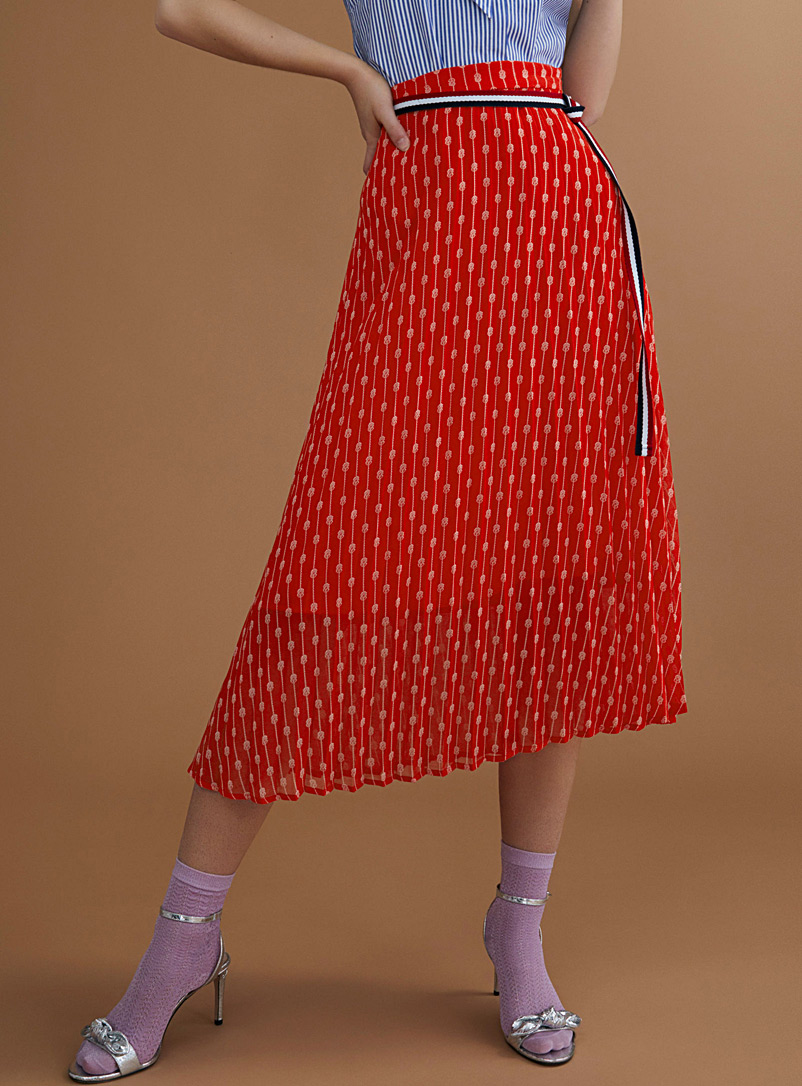 Patterned accordion-pleat skirt - Skirts - Patterned Red