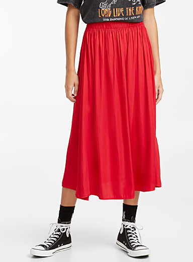 Satiny peasant midi skirt