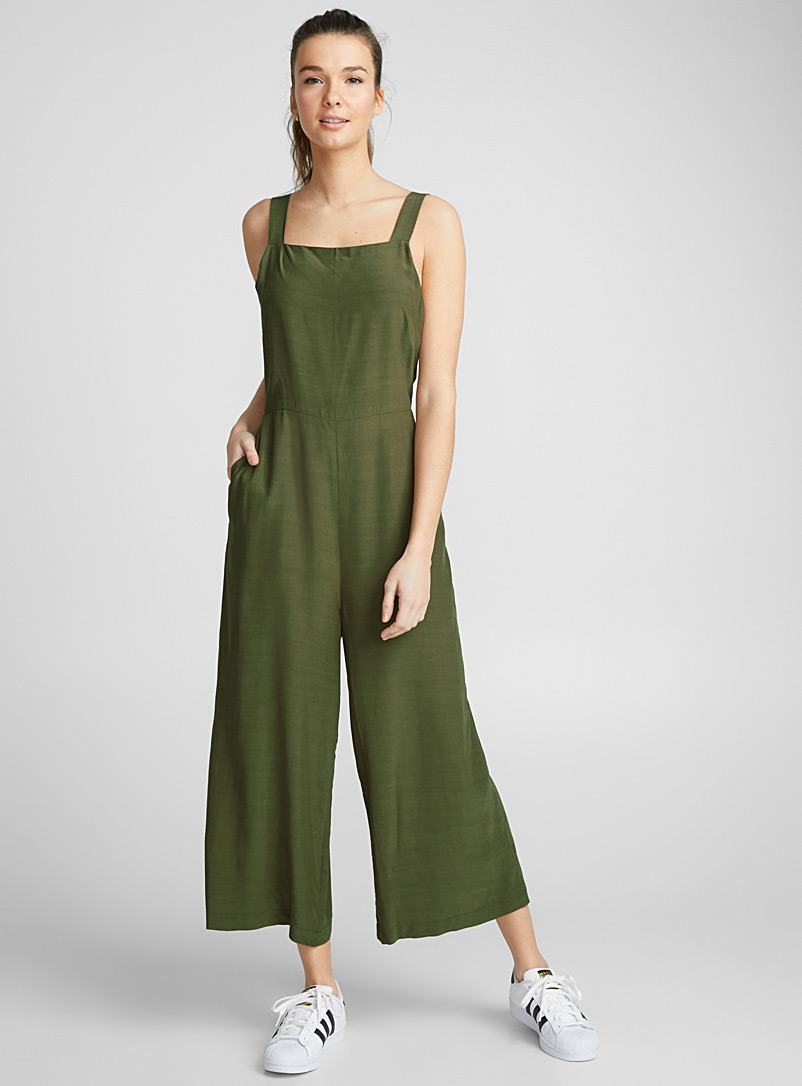 Square-neck gaucho jumpsuit - Jumpsuits & Rompers - Mossy Green