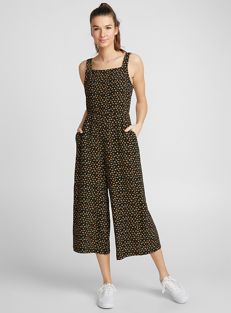 Square-neck gaucho jumpsuit - Jumpsuits & Rompers - Assorted