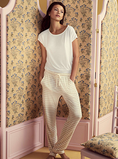 Tone-on-tone stripe pant