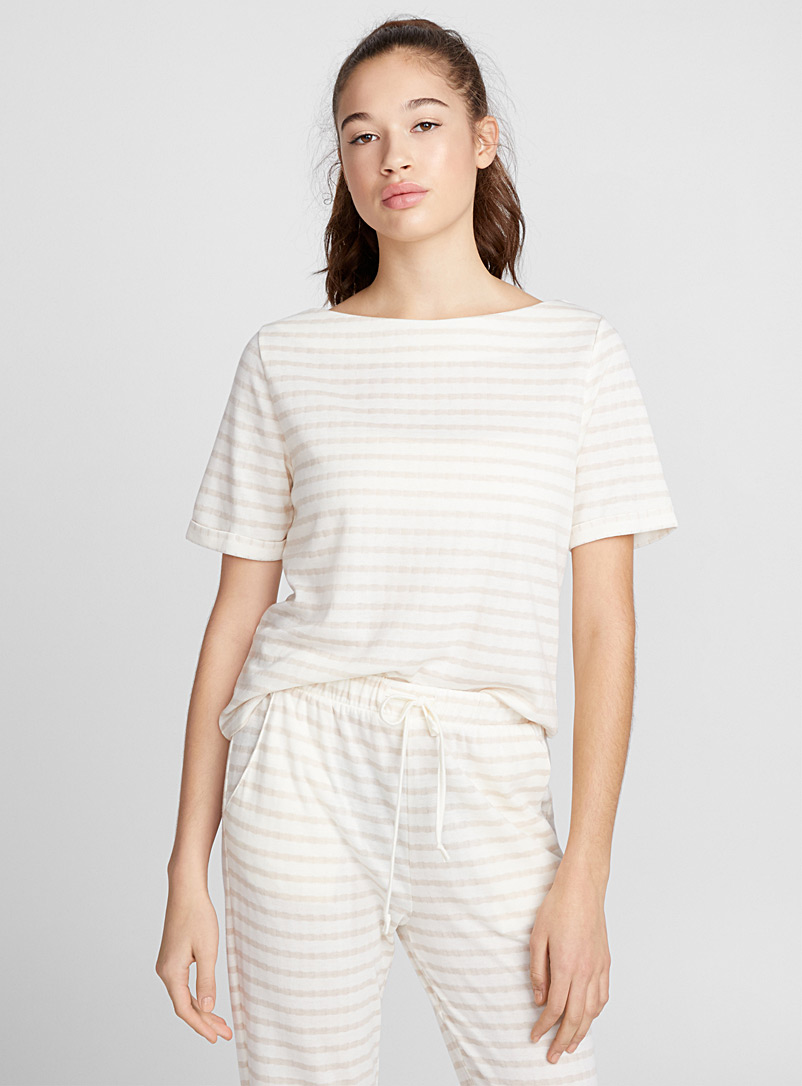 Tone-on-tone stripe tee - Sleepwear & Leisurewear - Patterned Ecru