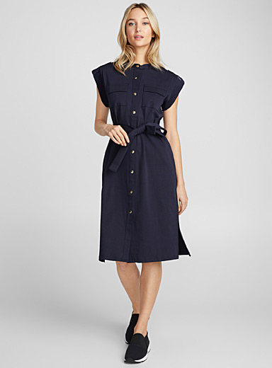 Cap sleeve belted shirtdress
